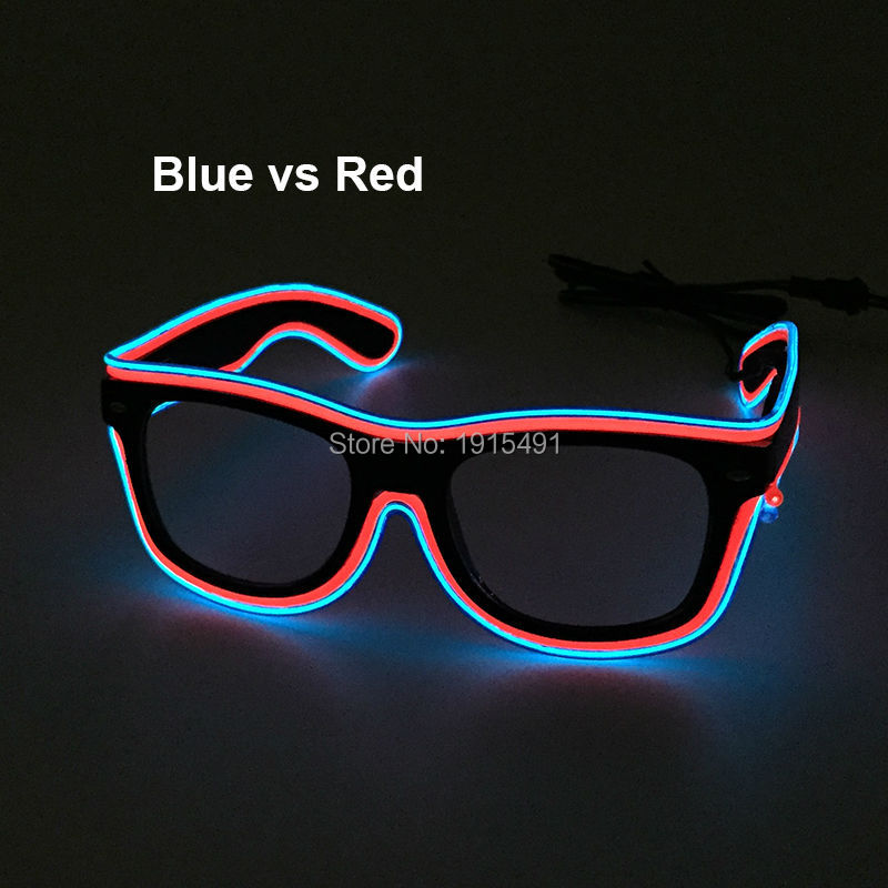 Popular Halloween Decor Glowing LED Neon Glasses Novelty Lighting Sparkling Multicolor EL Wire Sunglasses For Night Club,Bar