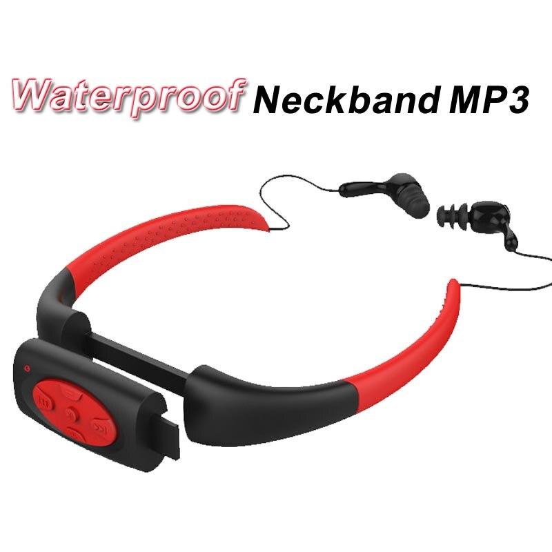 8 GB 8g impermeable MP3 IPX8 reproductor de música bajo el agua deporte banda para el cuello para buceo con Radio FM Auriculares auriculares estéreo mp3
