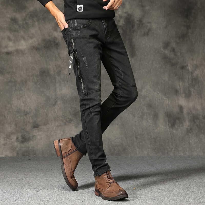High Street Стиль обтягивающие джинсы мужские черные тонкие джинсовые длинные Джинсы для женщин новые мужские однотонные узкие Брюки для девочек ковбойские штаны узкие Je