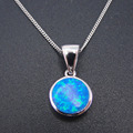 New Design Simple Style Fine Jewelry 100% 925 Sterling Silver Necklaces Blue Fire Opal Round Pendant Necklace  for Women