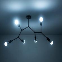 Nórdico moderno araña de techo LED luz dormitorio Comedor Cocina blanco/Negro cuerpo de luz de iluminación decoración