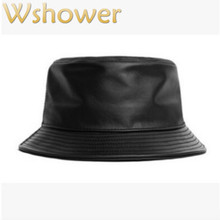 ab05be35e9ff Which in shower PU bucket hat hip hop for women men faux leather outdoor fishing  cap blank plain summer panama female male