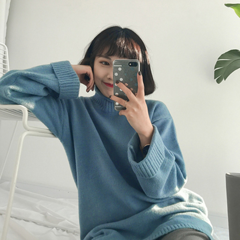73c4602279e 5 colors 2016 winter Rabbit hair thermal medium long roll up turtleneck  sweater solid color women sweaters and pullovers (A9225)-in Pullovers from  Women s ...