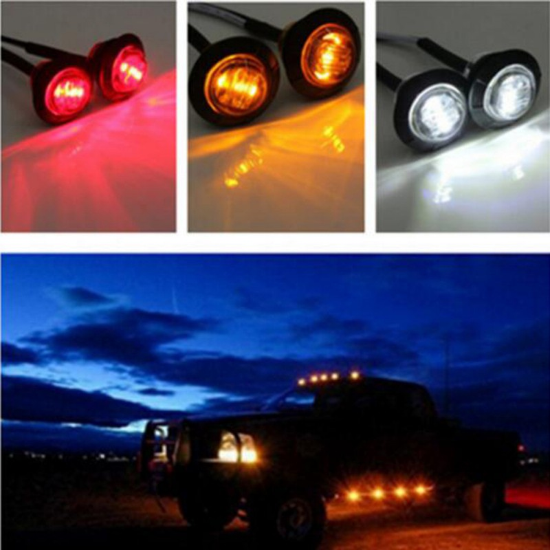 12v Trailer Led Side Marker Lights For Trucks Clearance Lights Amber Side Marker Round Truck Turn Signal Lamp 1PC