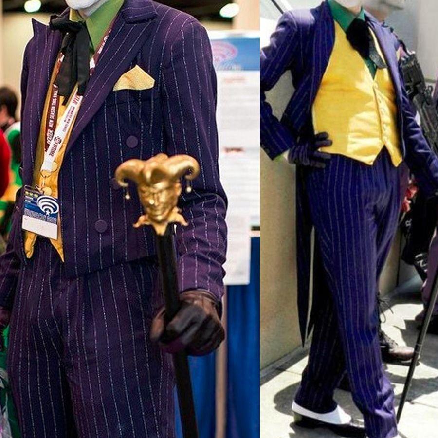 Batman Arkham Asylum Dark Knight Hausse Joker Jack Napier Tailcoat Cosplay Costume Halloween Jaune Gilet De Noël Cadeau