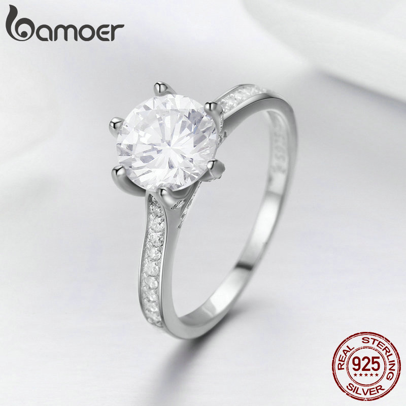 BAMOER High Quality 925 Sterling Silver Wedding Ring Princess Square CZ Finger Rings for Women Silver BAMOER High Quality 925 Sterling Silver Wedding Ring Princess Square CZ Finger Rings for Women Silver Engagement Jewelry SCR342