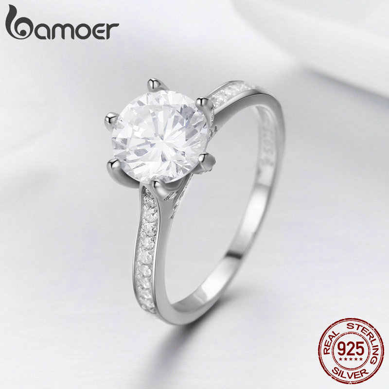BAMOER yüksek kalite 925 ayar gümüş alyans prenses kare CZ parmak yüzük kadınlar için gümüş nişan takı SCR342