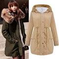 Новый 2017 Осень Зима Женщины Куртки Пальто Шнурок Талии Дамы Длинные Пальто Парки