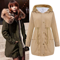 New 2017 Autumn Winter Women Jackets Coat Drawstring Waist Ladies Long Coats Parkas