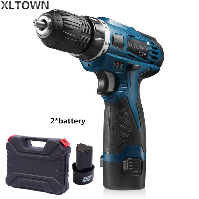 Xltown rechargeable lithium battery 12v two-speed electric screwdriver with Plastic box packing with2*battery power tools 2000mah rechargeable lithium battery pack for nds lite with screwdriver