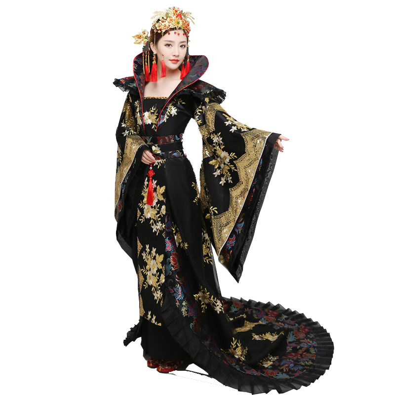 NEW 2018 Costume Women's Hanfu Trailing Dress Female Chinese Traditional Clothing China Black Swordswomen TV Movie Stage Outfit