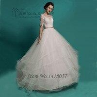 Greek Style Wedding Dress Princess Half Sleeve Lace Bridal Dresses Sash Ball Gown Wedding Gowns Vestido