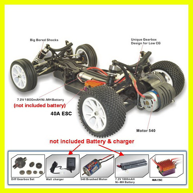1:10 Scale Bullet EBD 2WD Electric RC Buggy RH2011 Ready-to-Run RTR US SELLER