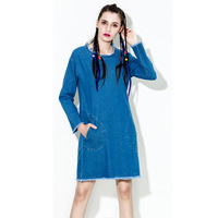 Plus Size Denim Dress Women Loose Fashion Casual Jeans Dresses For Women Clothing washing grinding spring dresses wholesale