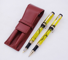 купить Jinhao Century Series Yellow Celluloid Fountain Pen & Rollerball Pen with Real Leather Brown Pencil Case Washed Cowhide Pen Case по цене 2553.47 рублей