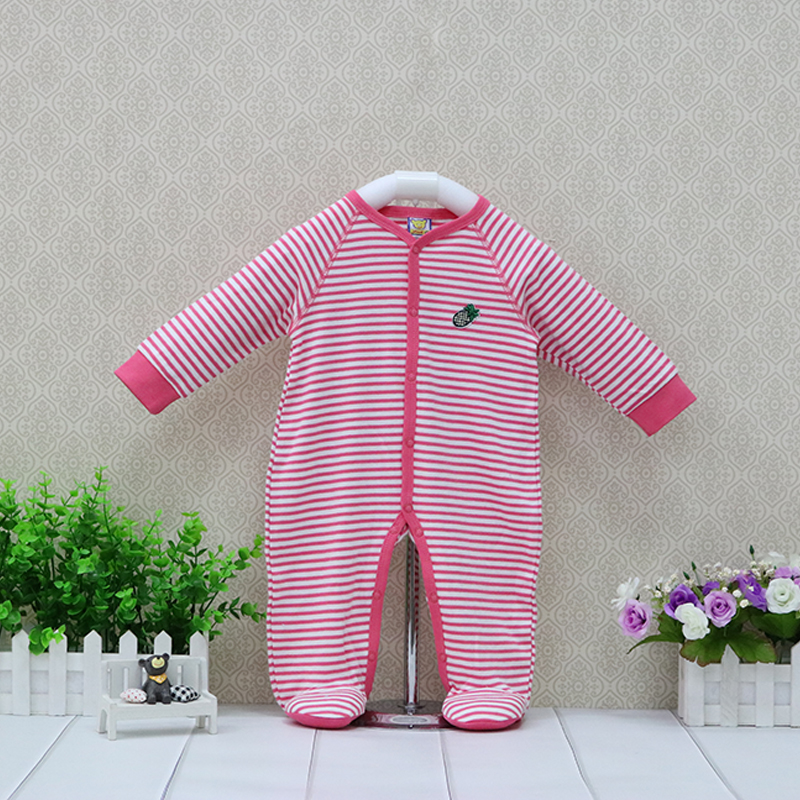 Girls 100% Cotton Button One Pieces   Rompers   Baby Long Sleeve Clothes Newborn sweet striped design long sleeve suits