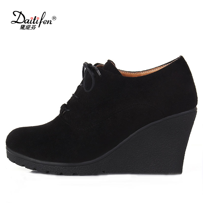 Daitifen Brand High Heel Wedges Shoes Platform Pumps Women Lace up Casual Shoes Sexy Women Shoes Fall Winter Sexy Pumps 2015 brand new high heel wedges shoes platform pumps for women lace up square toe casual shoes sexy casual shoes woman