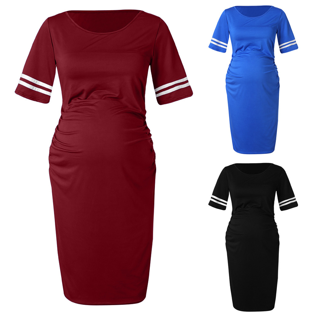 45c279323f6 Women s Maternity Bodycon Ruched Side Dress Casual For Daily Wearing ropa  premama embarazadas pregnancy clothes new