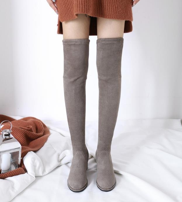 Fashion Over the knee Lady Boots Round toe Lace up Spring Casual Shoes with Solid Color Thin Heel Size 34-43 Med Heel Fashion Over the knee Lady Boots Round toe Lace up Spring Casual Shoes with Solid Color Thin Heel Size 34-43 Med Heel