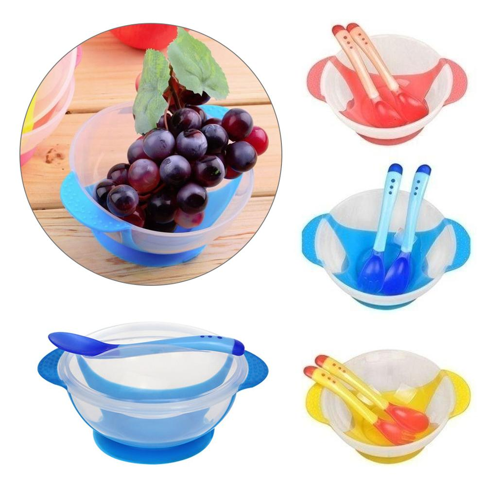 Baby Dinnerware Set Temperature Sensing Feeding Spoon Child Food Bowl Learning Dishes Service Plate/Tray Suction Cup Feeder