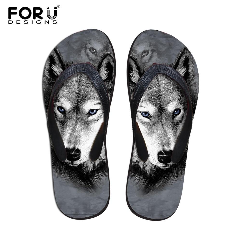 FORUDESIGNS 여름 남성 슬리퍼 비치 플립 Flops 패션 3D 동물원 동물 Wolf Owl Printed Sandals 남성 소프트 러버 플립 플롭