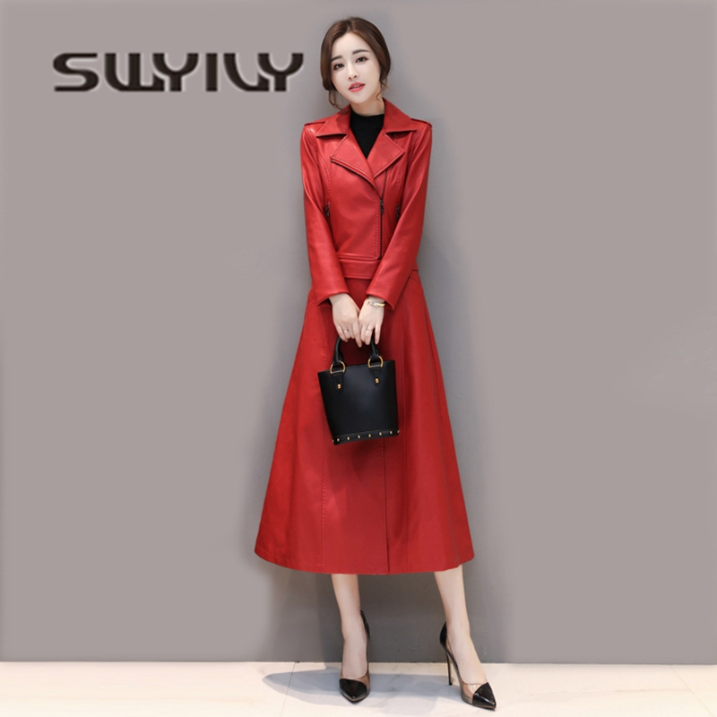 SWYIVY Woman   Leather   Jacket Coat Long Short Detachable 2019 Autumn Winter Female Fashion Long Design Outwear Coat Slim 4XL Red