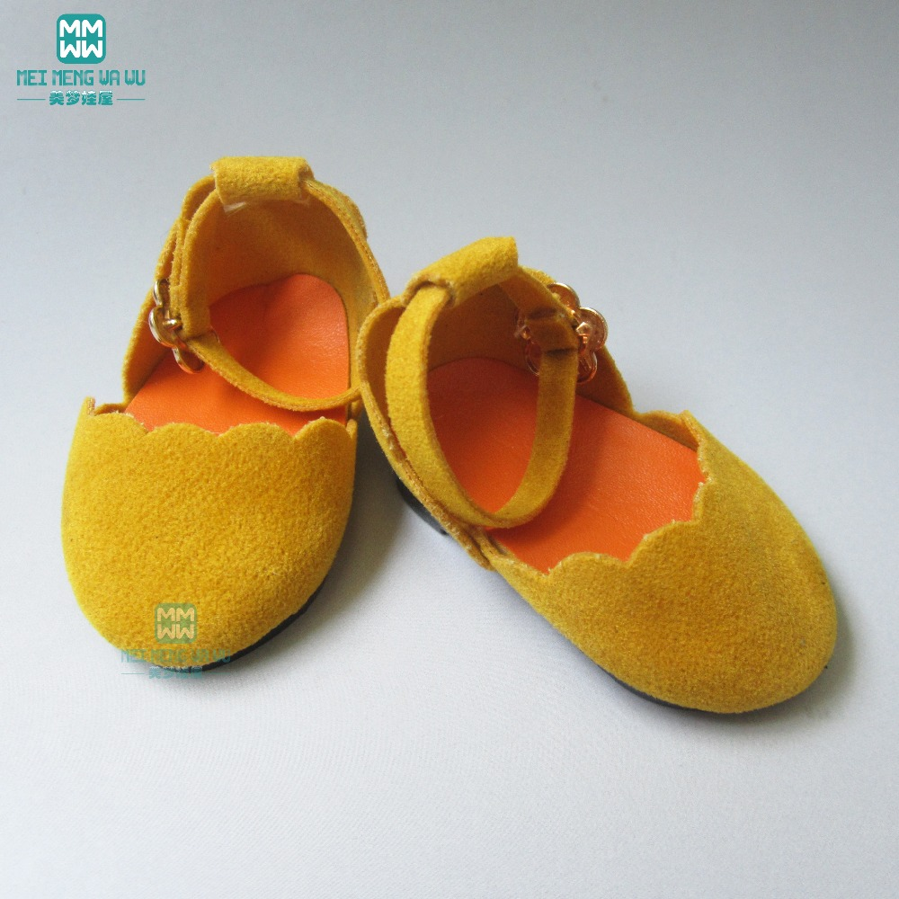 7cm yellow toy doll leather shoes for 18 inch 45CM Americonean Girls and Zapf baby born doll accessories