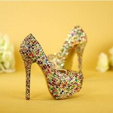 Женские туфли на высоком каблуке с кристаллами; вечерние туфли на очень высоком каблуке; свадебные туфли
