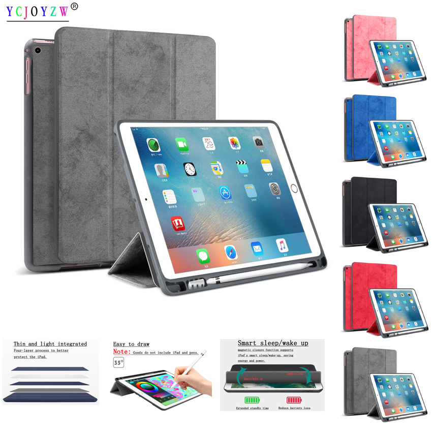 Case cover For Apple New iPad 9.7 inch (2017/2018). YCJOYZW - PU leather cover+TPU soft silicone Smart Sleep Wake Tablet case