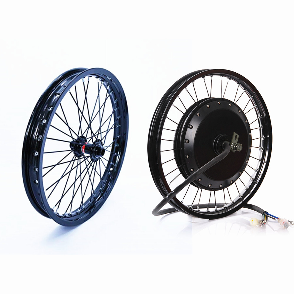 """QS v3 273 Motorcycle 18"""" 19"""" 72v 8000W Electric Bike Rear hub Motor wheel with Matching Front wheel"""