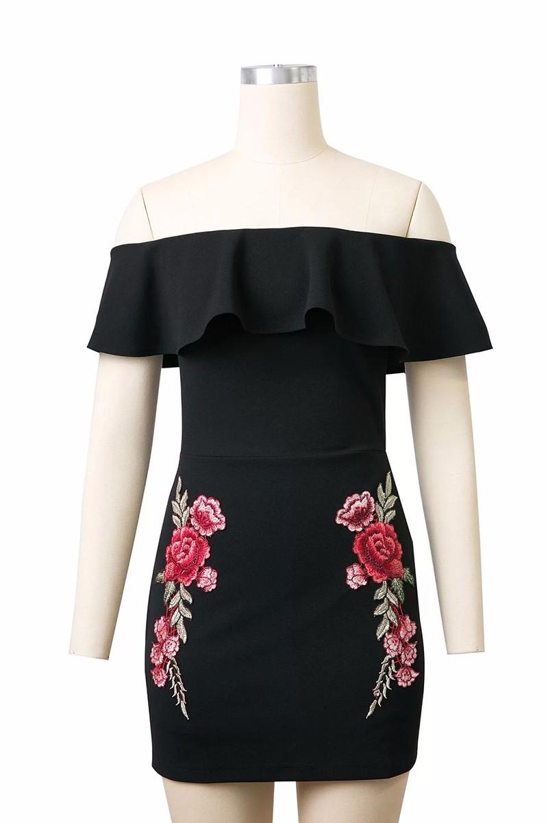HTB1ZqacPXXXXXaZXVXXq6xXFXXXf - Sexy Off Shoulder Embroidery Black Dress Women Mini PTC 158