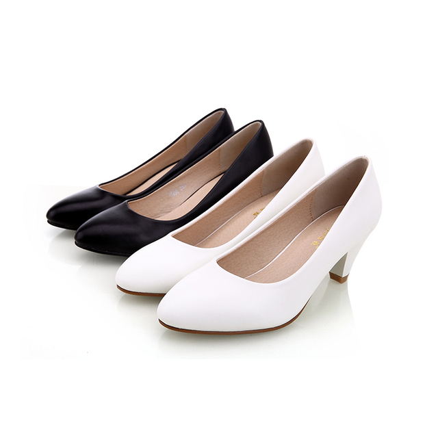 YALNN Women's  Leather Med Heels New High Quality Shoes Classic Black&White Pumps Shoes for Office Ladies Shoes 4