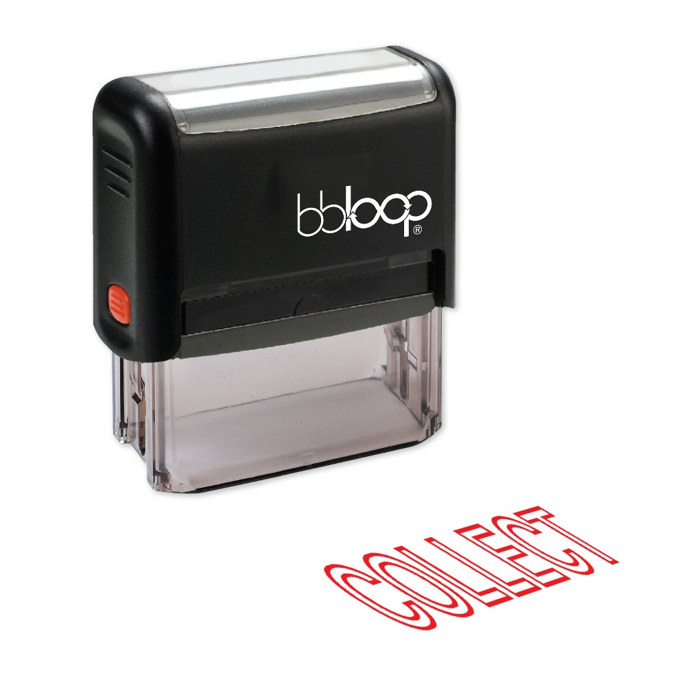 BBloop COLLECT Outline Self-Inking Stamp, Rectangular, Laser Engraved, RED/BLUE/BLACK 10 digit 9 wheels gray light blue rubber band self inking numbering stamp