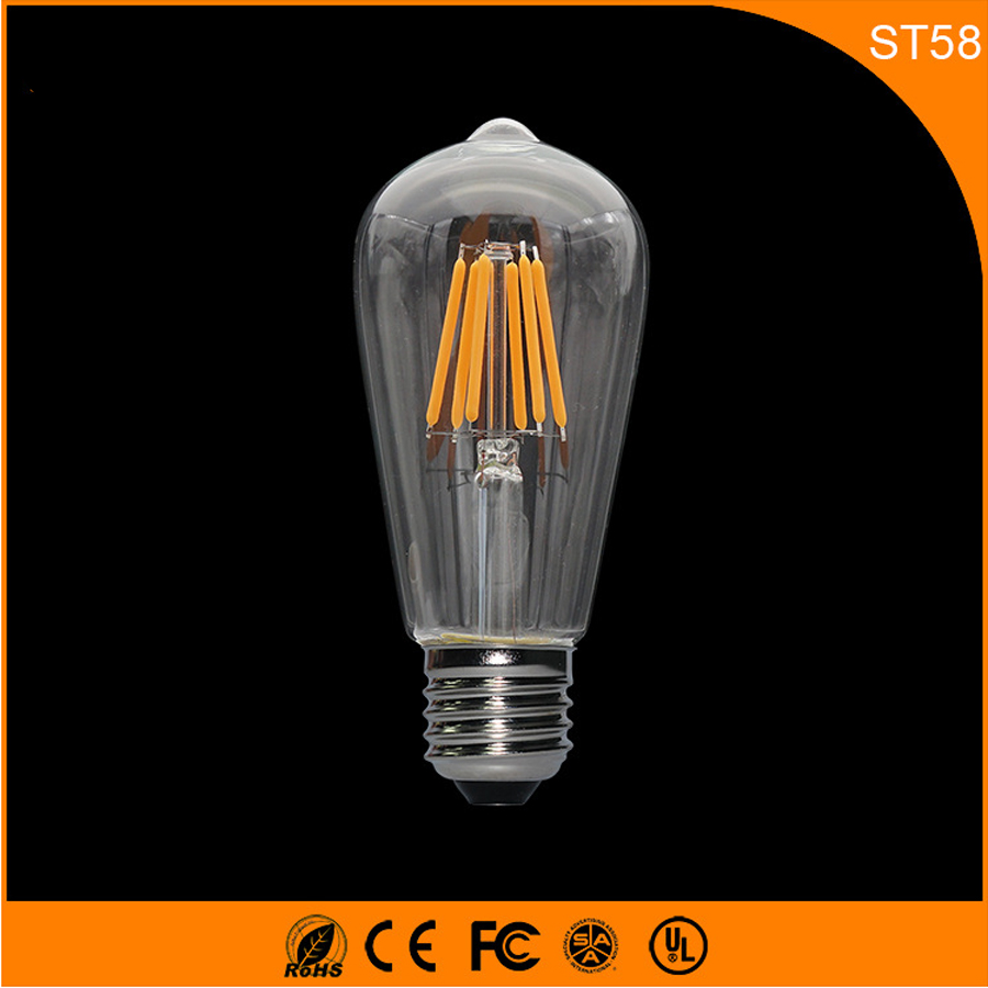 50PCS Retro Vintage Edison E27 B22 LED Bulb ,ST58 5W Led Filament Glass Light Lamp, Warm White Energy Saving Lamps Light AC220V 5pcs e27 led bulb 2w 4w 6w vintage cold white warm white edison lamp g45 led filament decorative bulb ac 220v 240v