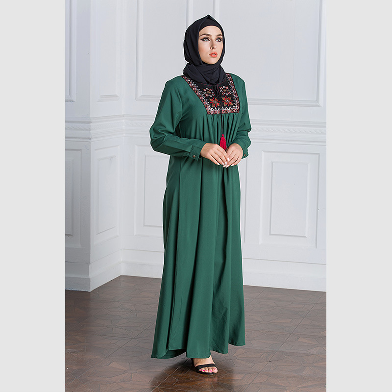 Muslim Dress Women Long Sleeve Embroidery Patchwork Abaya Loose Pakistan Free Plus Size Ethnic Arab Robe Islamic Clothing (10)