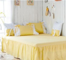 17ddb26f76 Aliexpress.com : Buy Sweet Girl Light yellow white Fairy duvet cover  bedding set princess 100% cotton Lace bed Skirt full queen king size set/B3032  from ...