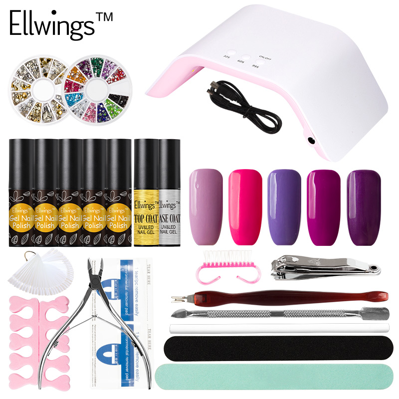 Ellwings Choose 5pcs Nude Color Gel Varnish 24W UV Sun Lamp Machine for Manicure Nail Art Decoration Manicure Set zthand made professional craftsmen choose creative decoration children s imagination uniqueness teaching wood art set for kids