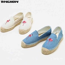 TINGHON Fashion Women Ladies Espadrille Shoes Canvas Embroidered Flamingos Thick bottom Hemps Fisherman Flats