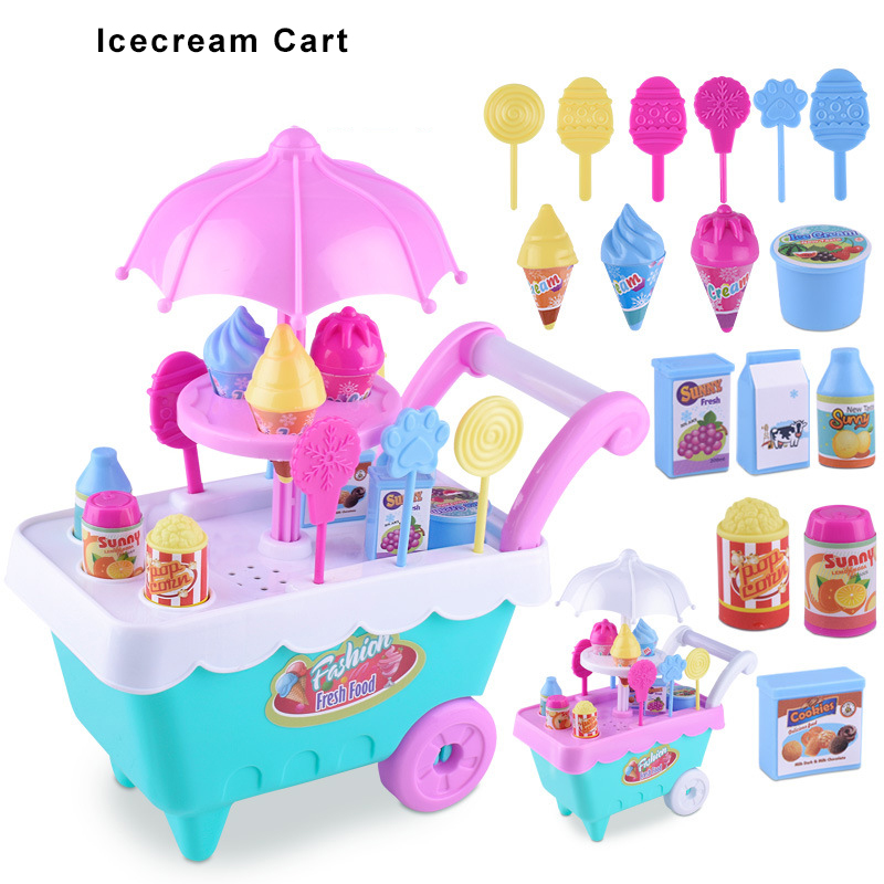 Children Simulation Candy Ice-cream Cart Baby Boy Girl Pretend Play Game House Toys Plastic Early Education Food Kitchen Set