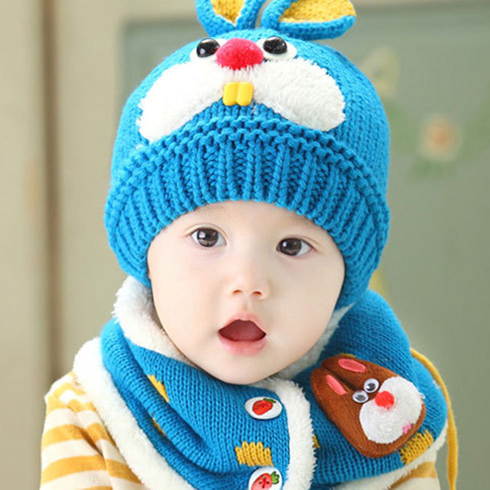 Baby Winter Hat Cartoon Rabbit Ears Hats For Girls Boys Baby Beanie Caps Earflap Hat and Scarf Set Winter Children's Hats new natural raccoon fur pompom hat thick winter for women cap beanie hats knitted cashmere wool caps female skullies beanies