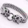 Hot Fashion Men Jewelry Wolf Head Bracelet Silver 316L Stainless Steel Bracelets Vintage Punk Men Bangle Free Shipping 12MM