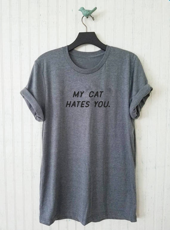 7075fcbacd0d Aesthetic Casual Short Sleeve Tee My Cat Hates You T-Shirt Graphic Unisex  Cat Lover