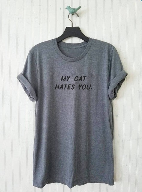 c01db2ce8bd2 Aesthetic Casual Short Sleeve Tee My Cat Hates You T-Shirt Graphic Unisex  Cat Lover