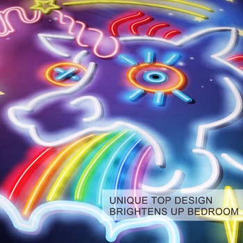 Unicorn Neon Light Special Glowing Bedding Set Twin Full Queen King