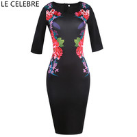 LE CELEBRE Boat Neck Pencil Dresses Black 2018 Printed Women Dress Knee Length Plus Size Dress