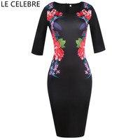 LE CELEBRE Boat Neck Pencil Dresses Black 2018 Printed Women Dress Knee Length Plus Size Dress