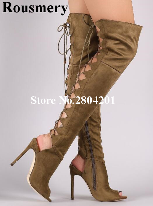 цена на Rousmery Sexy Thigh High Boots Women Back Cutout Lace Up Open Toe Stiletto Slingback Over The Knee Boots Fashion Stage Bota