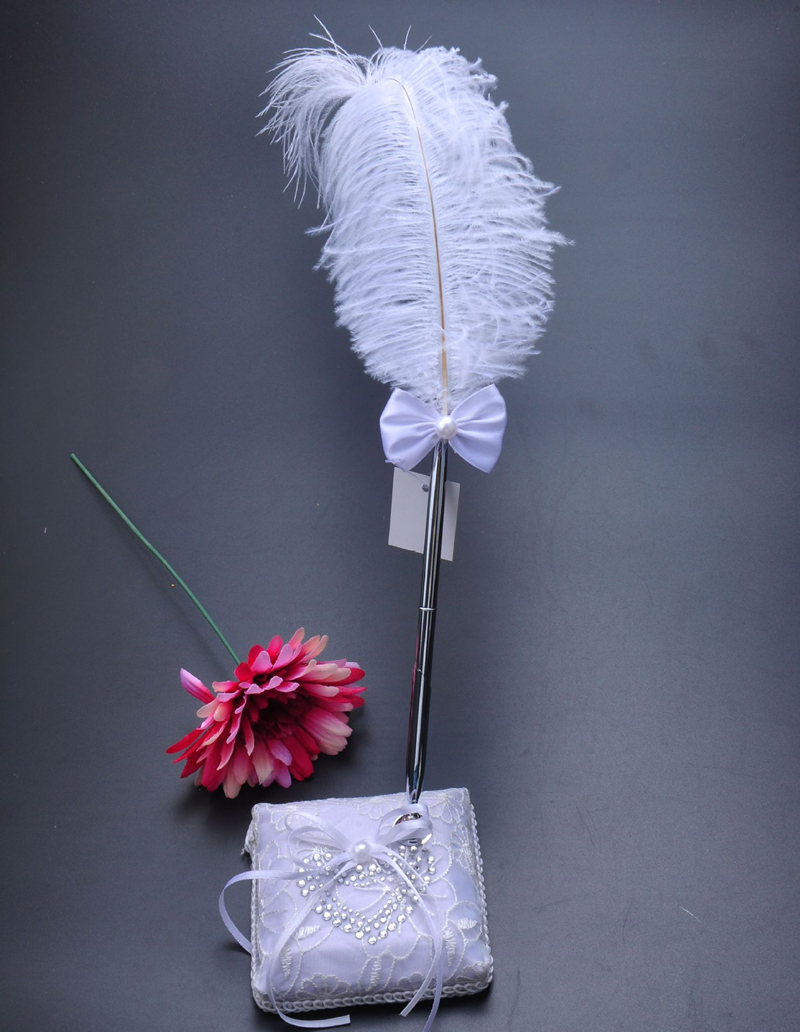 5 pièces/ensemble accessoires de décoration de mariage Satin anneau de mariage oreiller + panier de fleurs + livre d'or + ensemble de stylo + jarretière - 6