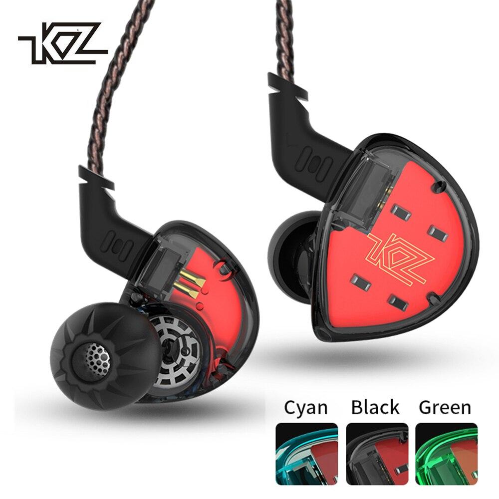 KZ ES4 Headphones In Ear Monitors Armature And Dynamic Hybrid Headset Ear Earphone HiFi Bass Noise Cancelling Ear Hooks Earbuds
