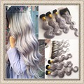 Ombre 1B/Grey Lace Frontal Closure With Bundles Body Wave 7A Brazilian Ombre Grey Hair Bundles with 13*4 Lace Frontal closure